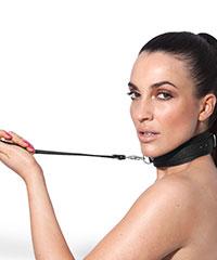 Halsband mit Leine in Leder-Design