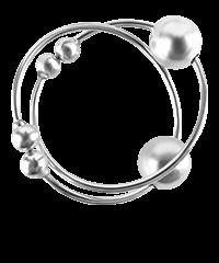 'Silver Nipple Bull Rings', 1Paar