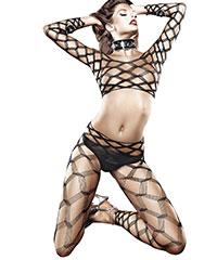 Bodystocking in Diamant-Design, 2teilig