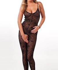 Ouvert-Bodystocking mit Spinnennetz-Muster