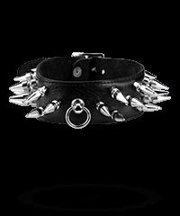 Leder-Halsband mit langen Killernieten