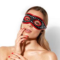 Nieten-Leder-Maske mit roten Säumen