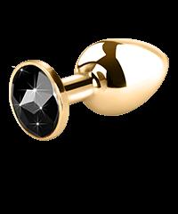 Edelstahl-Dildo mit Kristall, gold, 7,5cm