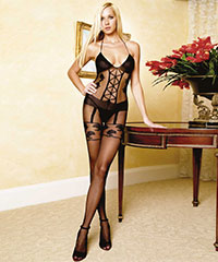 Bodystocking mit Straps-Muster