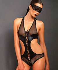 Eleganter Body mit Maske, 2teilig